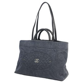 Chanel-Chanel Gray CC Denim Tote-Other,Grey