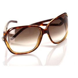 Dior-Lunettes de soleil rondes oversizees marron Dior-Marron,Noir
