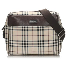 Burberry-Burberry Brown House Check Canvas Shoulder Bag-Brown,Black,Beige
