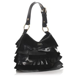 Yves Saint Laurent-YSL Black Leather Saint Tropez Shoulder Bag-Black
