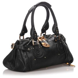 Chloé-Chloe Black Leather Paddington Handbag-Black