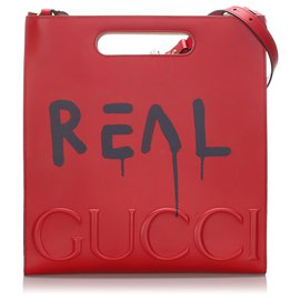 Gucci-Gucci Red GucciGhost Leather Tote-Red