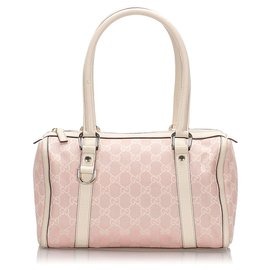 Gucci-Gucci Pink GG Canvas Boston Bag-Pink,White