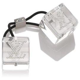 Louis Vuitton-Louis Vuitton White Embellished Hair Cubes-Black,White