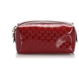 Gucci-Gucci Red Microguccissima Patent Leather Pouch-Red