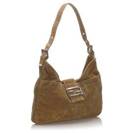 Fendi-Fendi Brown Corduroy Shoulder Bag-Brown,Beige