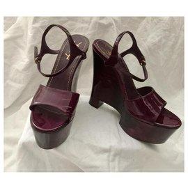 Yves Saint Laurent-Tribute Wedge Sandal-Purple