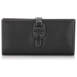 Salvatore Ferragamo-Ferragamo Black Leather Long Wallet-Black