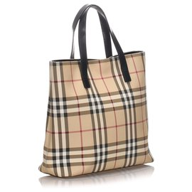 Burberry-Burberry Brown House Check Canvas Tote Bag-Brown,Multiple colors,Beige