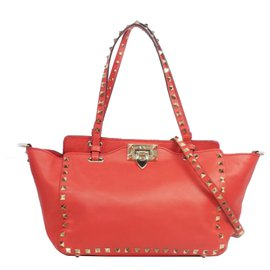 Valentino-Valentino Red Leather Rockstud Tote-Red