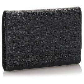 Chanel-Chanel Black Caviar Leather Tri-Fold Wallet-Black