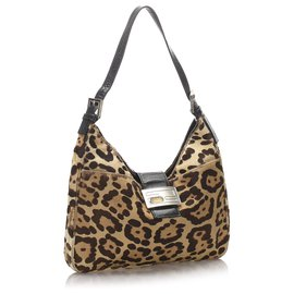 Fendi-Fendi Brown Leopard Print Pony Hair Shoulder Bag-Brown,Black,Light brown