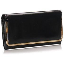 Gucci-Gucci Black Patent Leather Clutch Bag-Black