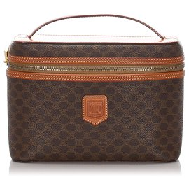 Céline-Celine Brown Macadam Vanity Bag-Brown,Dark brown