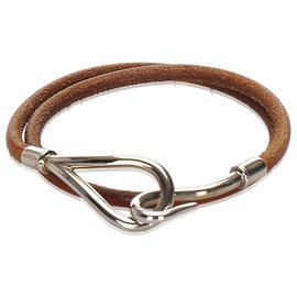Hermès-Hermes Brown Leather Jumbo Hook Choker-Brown,Silvery