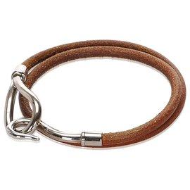 Hermès-Collier ras du cou en cuir marron Hermes-Marron,Argenté