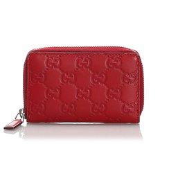 Gucci-Gucci Red Guccissima Coin Pouch-Red