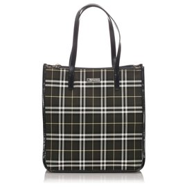 Burberry-Burberry Black House Check Canvas Tote Bag-Black,Multiple colors