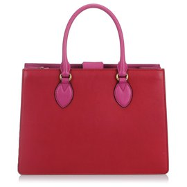 Gucci-Gucci Red Bicolor Leather Linea A Satchel-Pink,Red