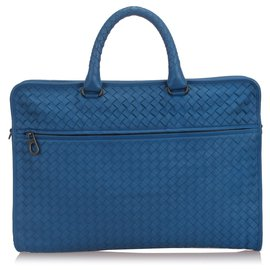 Bottega Veneta-Bottega Veneta Blue Intrecciato Leather Business Bag-Blue