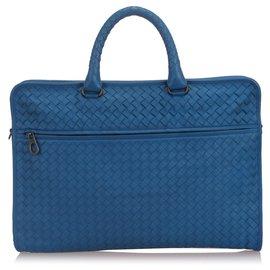 Bottega Veneta-Bottega Veneta - Sac d'affaires en cuir intrecciato bleu-Bleu