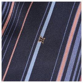 Louis Vuitton-Louis Vuitton Blue Striped Silk Tie-Blue,Multiple colors
