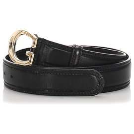 Gucci-Gucci Ceinture en cuir noir-Noir