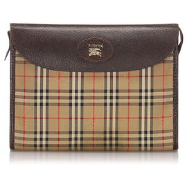 Burberry-Burberry Brown House Check Canvas Clutch Bag-Brown,Multiple colors,Beige