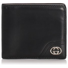Gucci-Gucci Black calf leather Leather Bi-Fold Wallet-Black