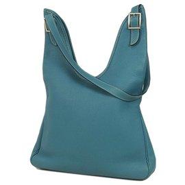 Hermès-Hermes Bleu Togo Cuir Massai PM-Bleu