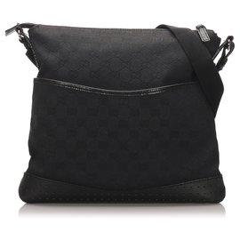 Gucci-Gucci Black GG Canvas Crossbody Bag-Black