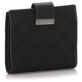 Gucci-Gucci Black GG Canvas Bi-Fold Wallet-Black