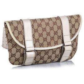Gucci-Gucci Brown GG Canvas Belt Bag-Brown,White,Beige
