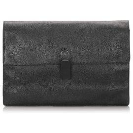 Fendi-Fendi Black Leather Clutch Bag-Black