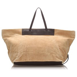Fendi-Fendi Brown Suede Tote Bag-Brown,Beige,Dark brown
