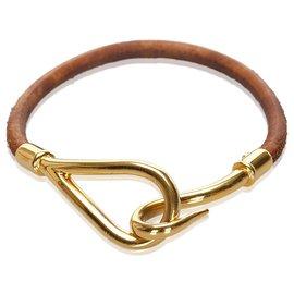 Hermès-Bracelet crochet en cuir marron Hermes-Marron,Doré