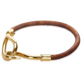 Hermès-Hermes Brown Leather Jumbo Hook Bracelet-Brown,Golden