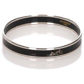 Hermès-Bracelet jonc Hermes Black Caleche en émail-Noir
