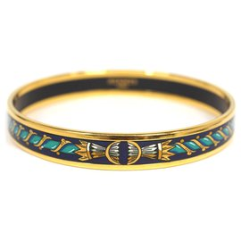 Hermès-Hermes Blue Narrow Enamel Bangle-Blue,Golden,Dark blue