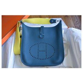 Hermès-Hermès bag Evelyne III 33 Mallard / Lime-Silvery,Navy blue,Dark green