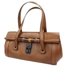 Gucci-Gucci Bamboo handbag in brown leather-Marron clair