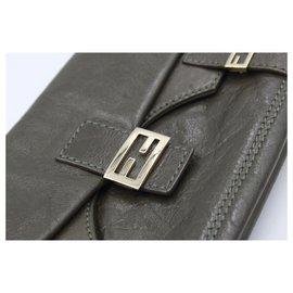 Fendi-Fendi handbag in kaki leather.-Khaki