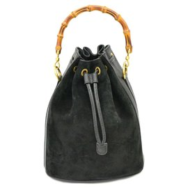 Gucci-Cartable à cordon en daim de bambou Gucci-Noir