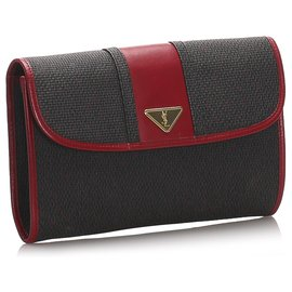 Yves Saint Laurent-YSL Black Woven Flap Clutch Bag-Black,Red