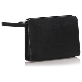Burberry-Burberry Black Leather Clutch Bag-Black