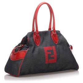 Fendi-Fendi Blue Denim Etniko Tote Bag-Red,Blue,Dark blue