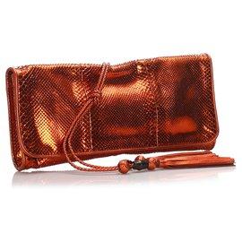 Gucci-Gucci Orange Python Malika Clutch Bag-Orange
