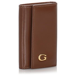 Gucci-Gucci Brown Leather Key Holder-Brown