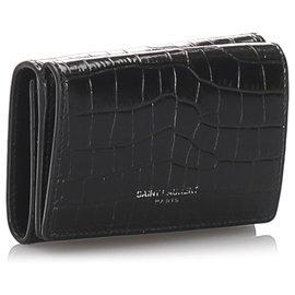 Yves Saint Laurent-Portefeuille compact en relief YSL Crocodile noir-Noir