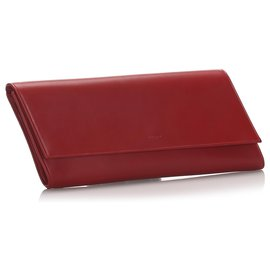 Yves Saint Laurent-YSL Red Leather Diagonale Clutch Bag-Red